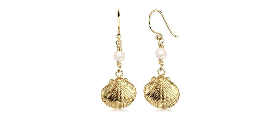 Goldhimmel Ohrringe »Muschel Maritim Perle Strand 925 Silber vergoldet«