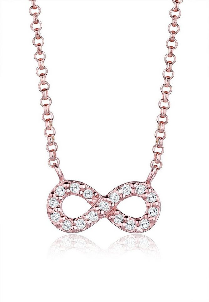 Elli Halskette »Infinity Verspielt Zirkonia 925 Sterling Silber« in Rosegold