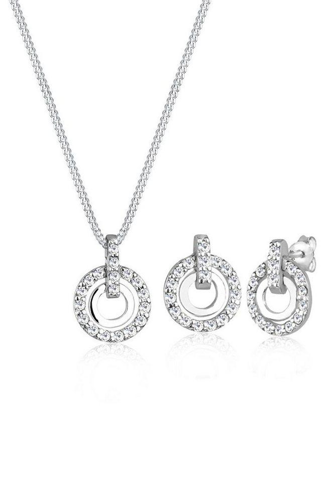Elli Set: Schmuckset »925 Sterling Silber Kreis Swarovski® Kristalle« 2 tlg. in Weiß