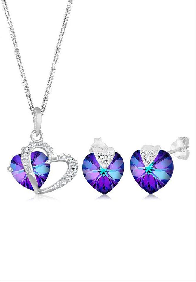 Elli Set: Schmuckset »Herzchen Swarovski® Kristalle 925 Sterling Silber« 2 tlg. in Violett
