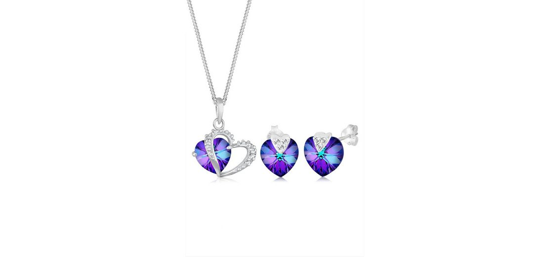 Elli Set: Schmuckset »Herzchen Swarovski® Kristalle 925 Sterling Silber« 2 tlg.