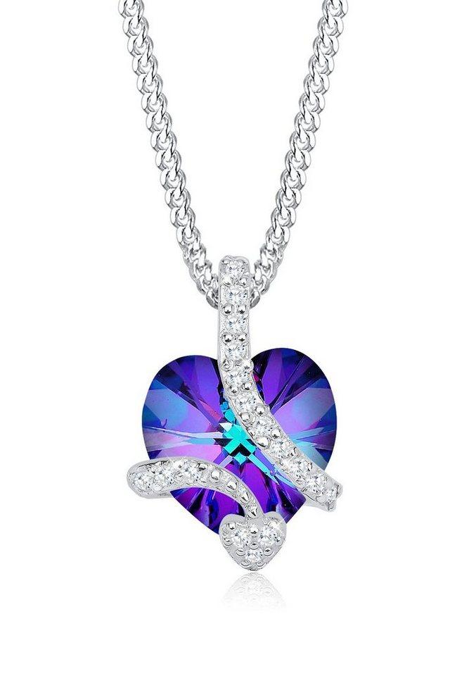 Elli Halskette »Herz Swarovski® Kristalle 925 Sterling Silber« in Violett