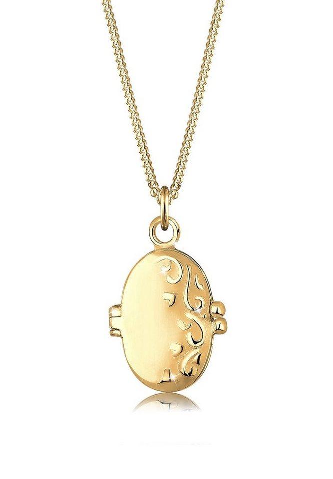 Elli Halskette »Medaillon Ornament 925 Sterling Silber« in Gold