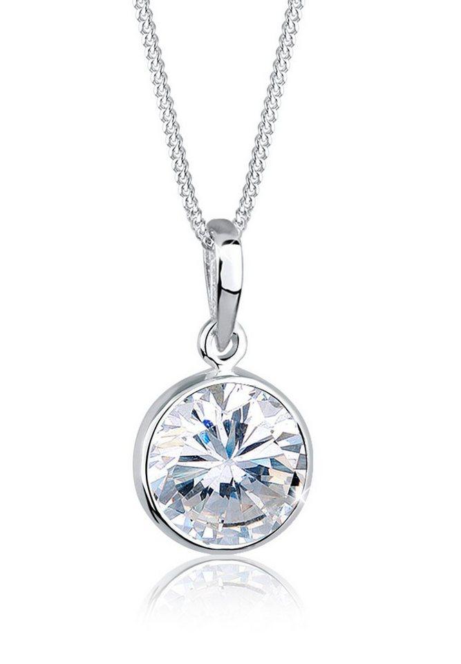 Elli Halskette »Zirkonia Stein Solitär 925 Sterling Silber« in Weiß