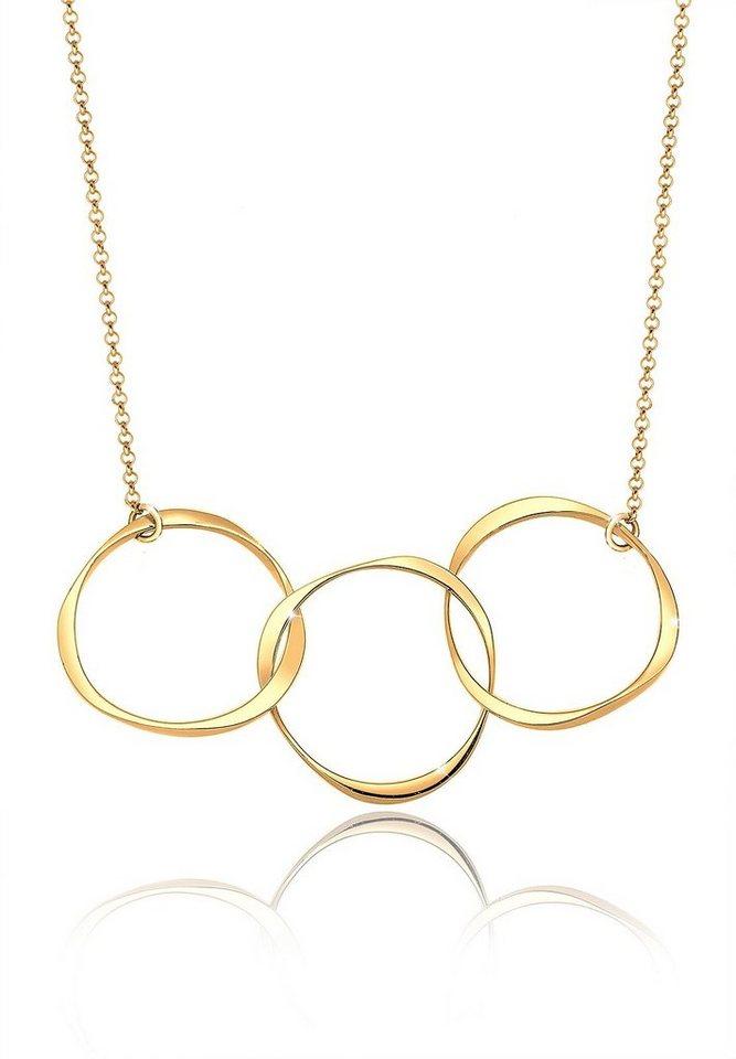 Elli Halskette »Kreis Geo 925 Sterling Silber vergoldet« in Gold