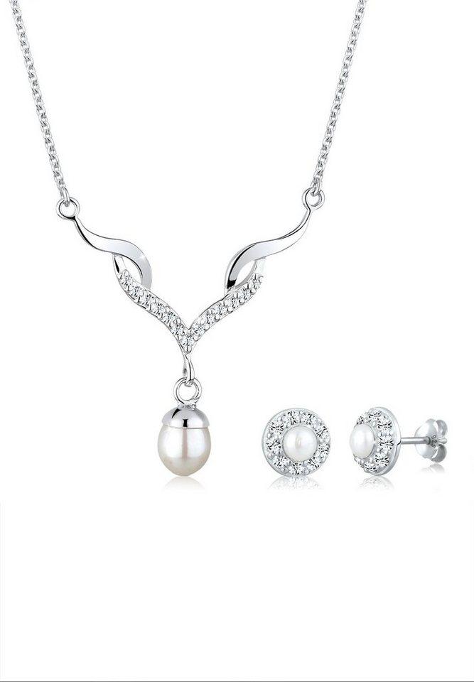Perlu Set: Schmuckset »Perle Swarovski® Kristalle 925 Silber« 2 tlg. in Silber