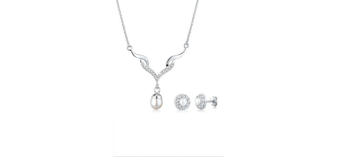 Perlu Set: Schmuckset »Perle Extravagant Zirkonia 925 Sterling Silber« 2 tlg.