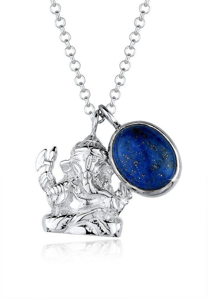 Elli Halskette »Ganesha Edelstein 925 Silber« in Blau