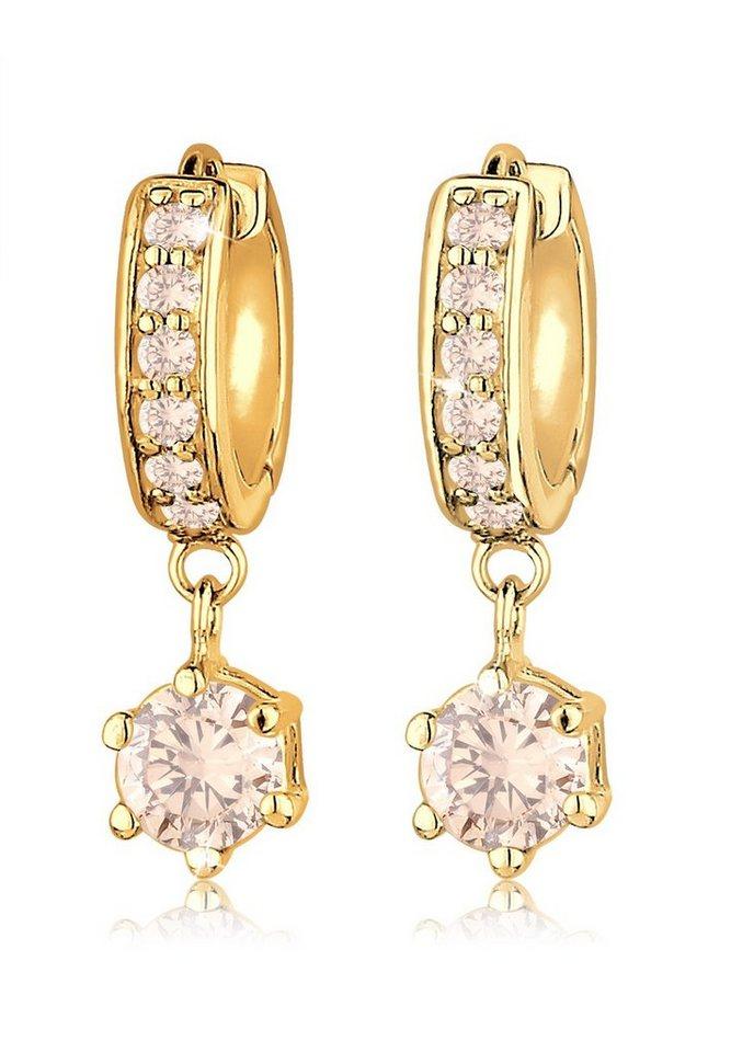 Goldhimmel Ohrringe »Creolen Zirkonia Luxuriös Festlich vergoldet« in Gold