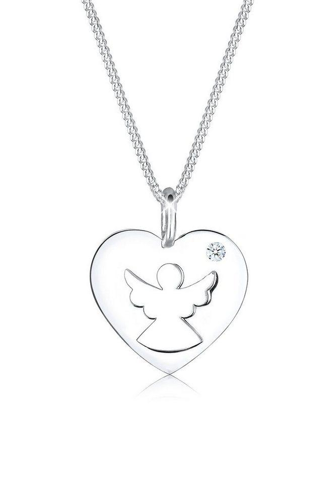Diamore Halskette »925 Sterling Silber Diamant Herz Schutzengel« in Weiß