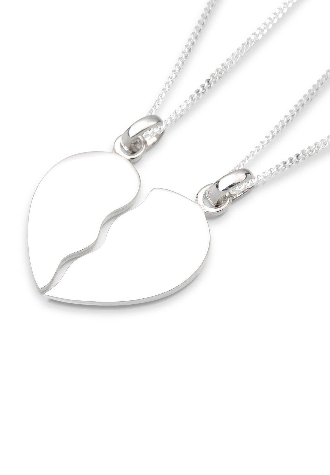 Elli Set: Halskette »Herz Liebe Freundschaft Partnerkette 925 Silber« 2 tlg.
