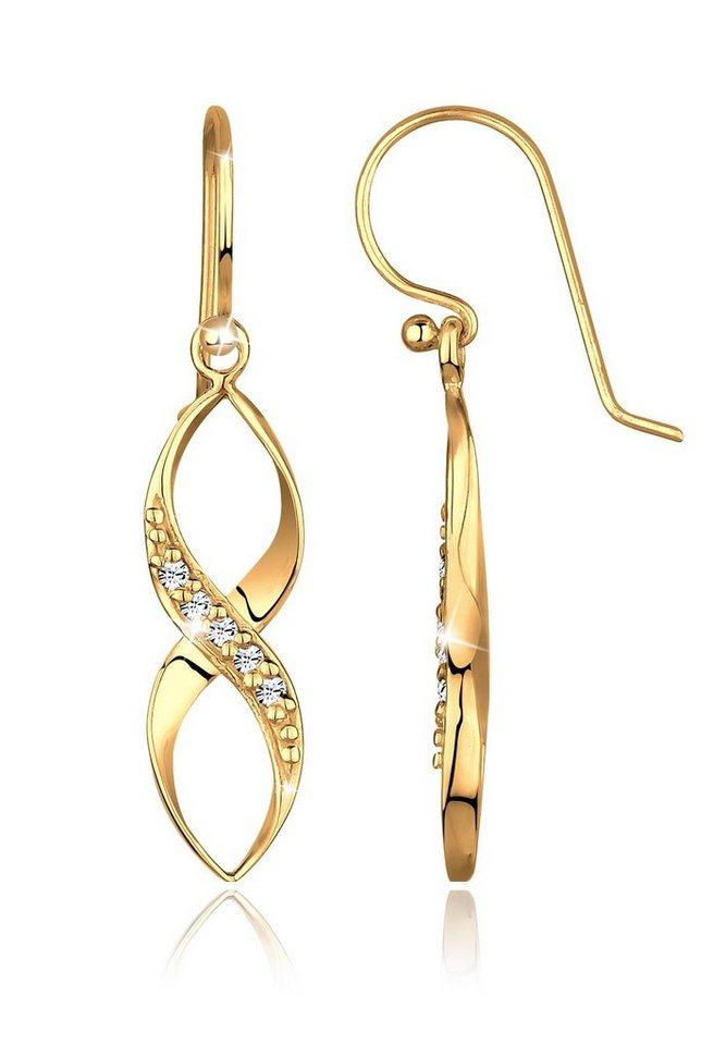 Goldhimmel Ohrringe »Infinity Swarovski® Kristalle Liebe vergoldet« in Weiß