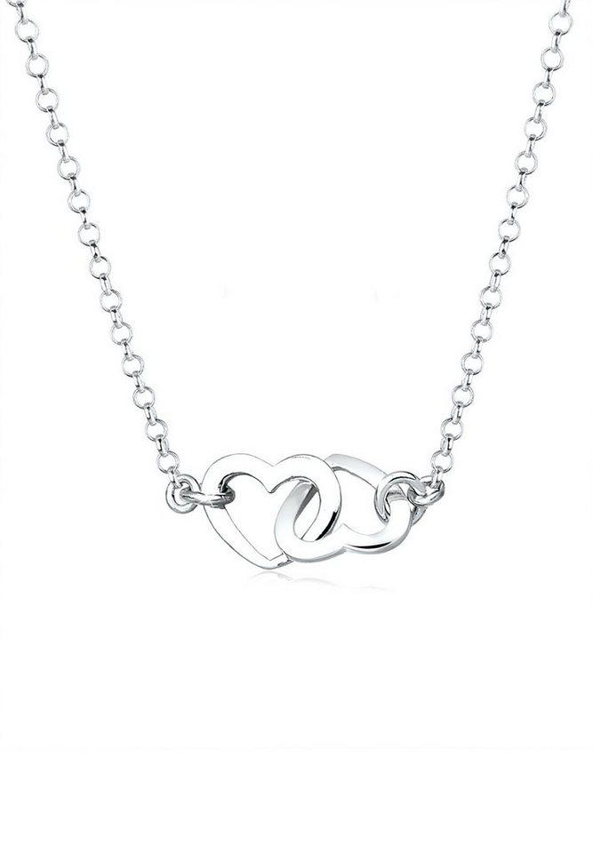 Elli Halskette »Herzen Liebe 925 Sterling Silber« in Silber