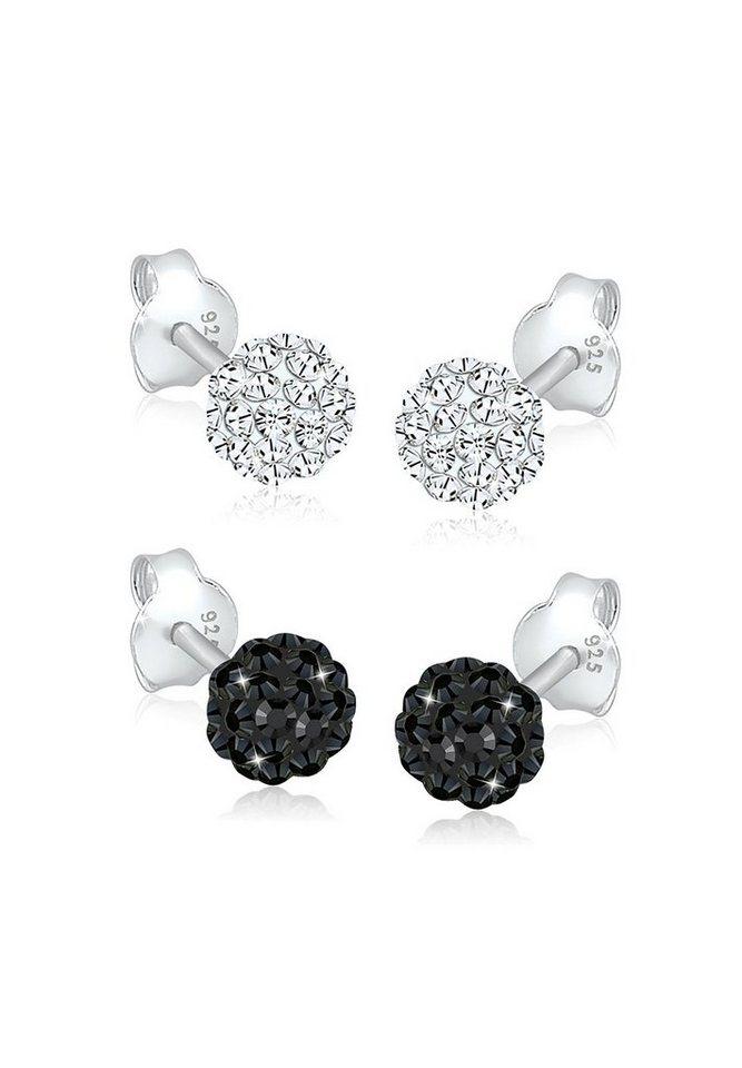 Elli Set: Ohrringe »Kugel Swarovski Kristalle 925 Sterling Silber« 2 tlg. in Schwarz
