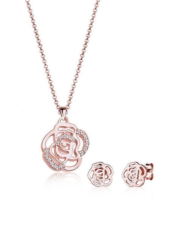 Elli Set: Schmuckset »Blume Swarovski Kristalle 925 Sterling Silber« 2 tlg. in Weiß