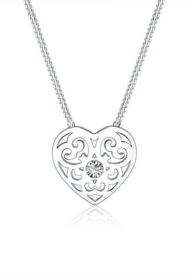 Elli Halskette »Ornament Herz Swarovski® Kristalle 925 Silber« in Silber
