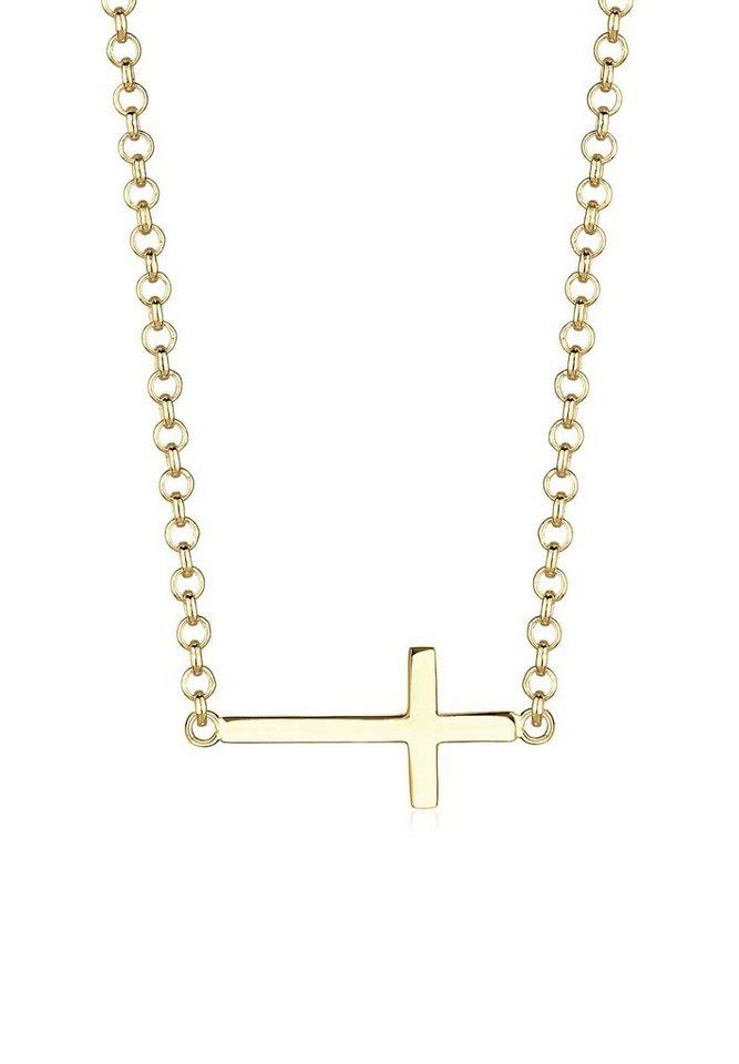 Elli Halskette »Kreuz Spirituell Glaube 375 Gelbgold« in Gold