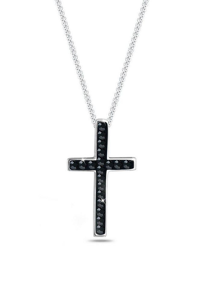 Elli Halskette »Kreuz Swarovski® Kristalle 925 Sterling Silber« in Schwarz