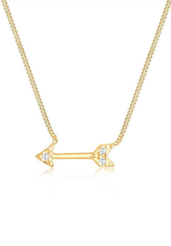 Elli Halskette »Pfeil Amor Zirkonia 925 Sterling Silber« in Gold