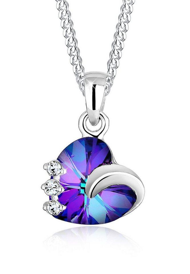 Elli Halskette »Herz Love Swarovski® Kristalle 925 Sterling Silber« in Violett