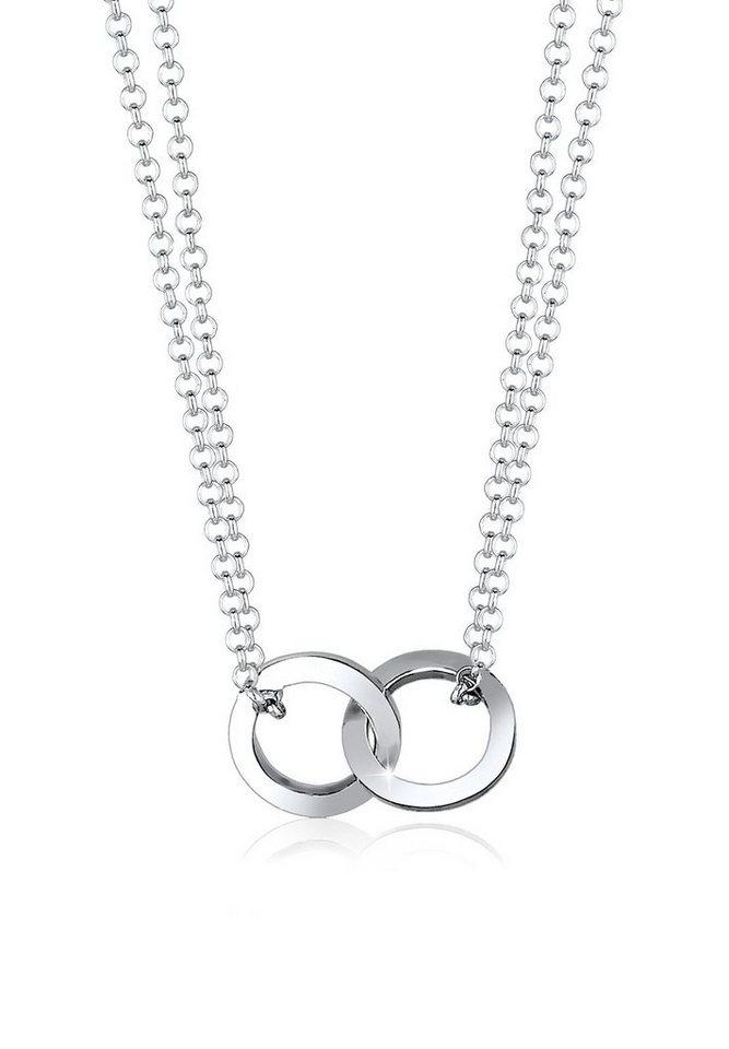Elli Halskette »Kreis Layer Liebe 925 Sterling Silber« in Silber