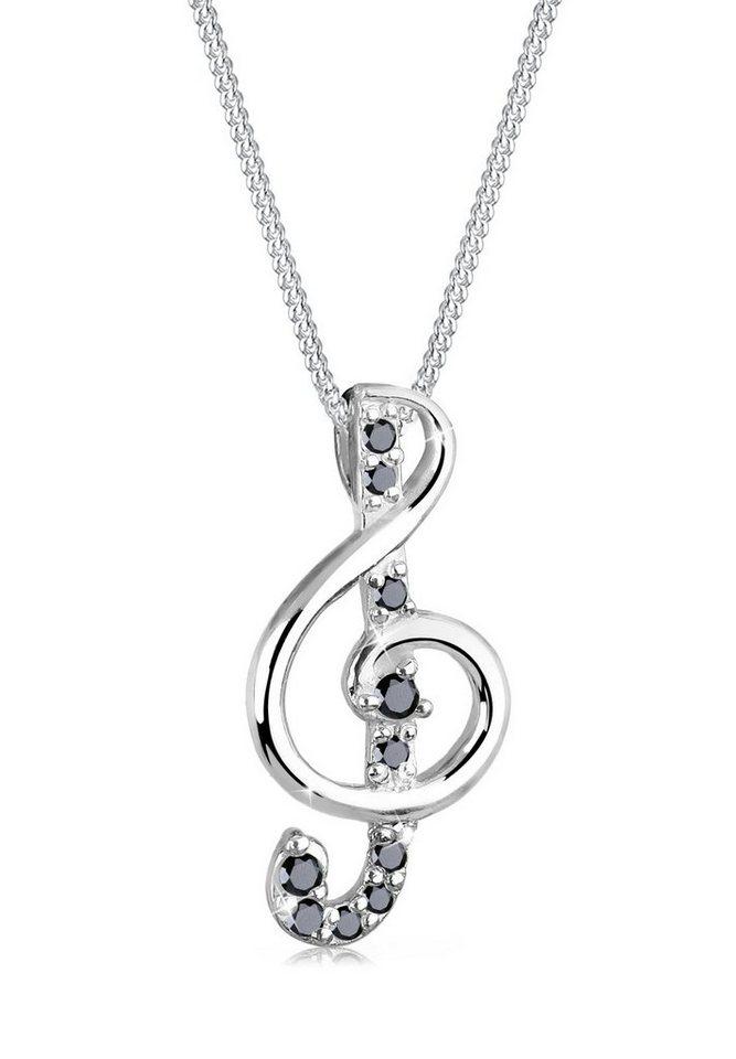 Elli Halskette »Notenschlüssel Zirkonia 925 Sterling Silber« in Schwarz