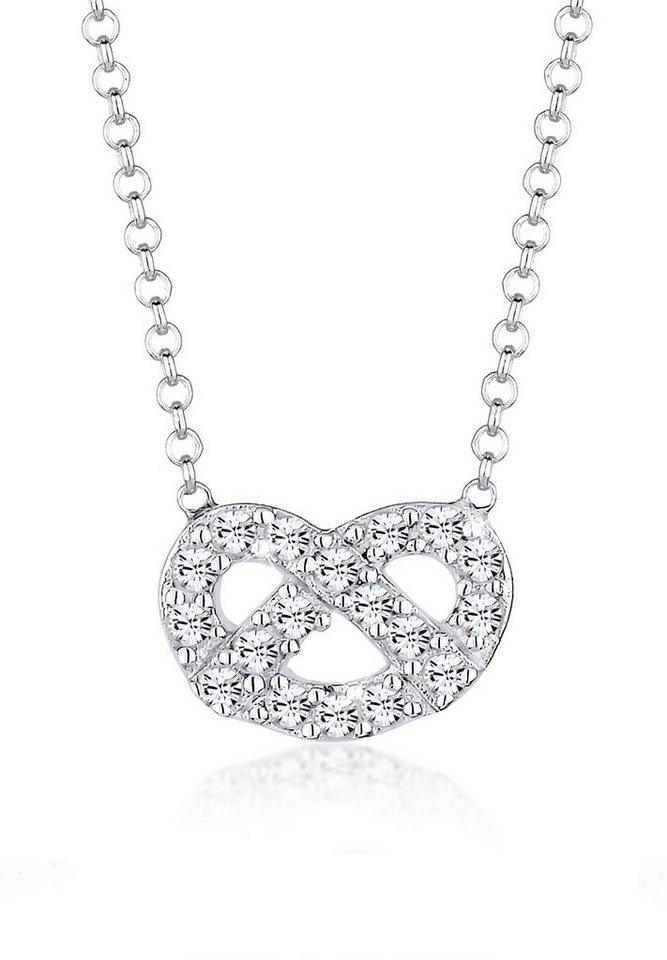 Elli Halskette »Brezel Swarovski Kristalle 925 Sterling Silber« in Weiß