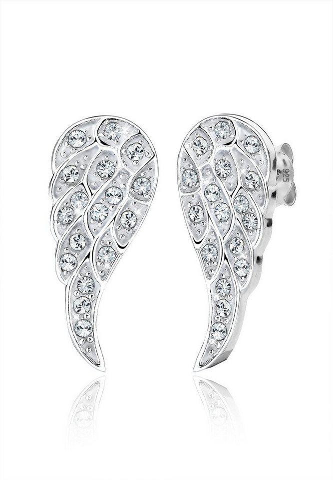 Elli Ohrringe »Flügel Swarovski Kristalle 925 Sterling Silber« in Weiß
