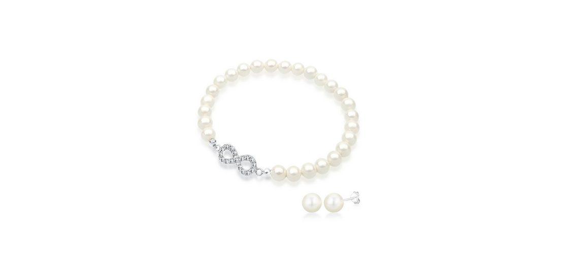 Elli Set: Schmuckset »Infinity Perlen Swarovski Kristalle 925 Silber« 2 tlg.