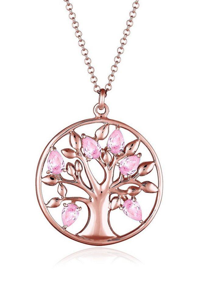 Elli Halskette »Lebensbaum Zirkonia 925 Sterling Silber« in Rosa