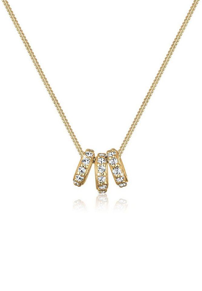 Elli Halskette »Ringe Swarovski® Kristalle 925 Sterling Silber« in Weiß