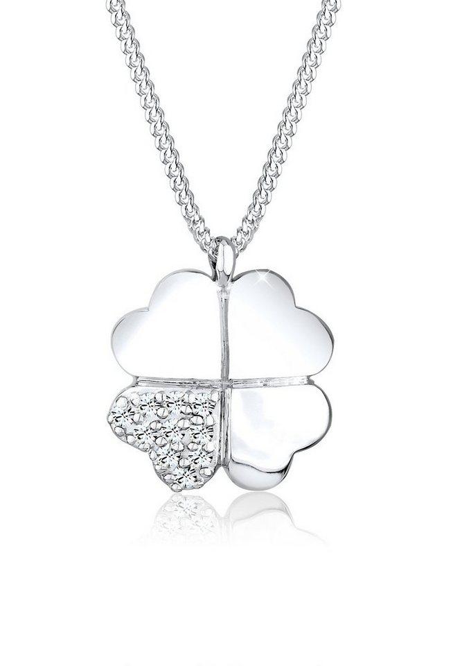 Elli Halskette »Kleeblatt Swarovski Kristalle 925 Sterling Silber« in Weiß
