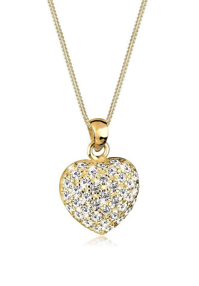 Goldhimmel Halskette »Herz Swarovski® Kristalle 925 Sterling Silber« in Weiß