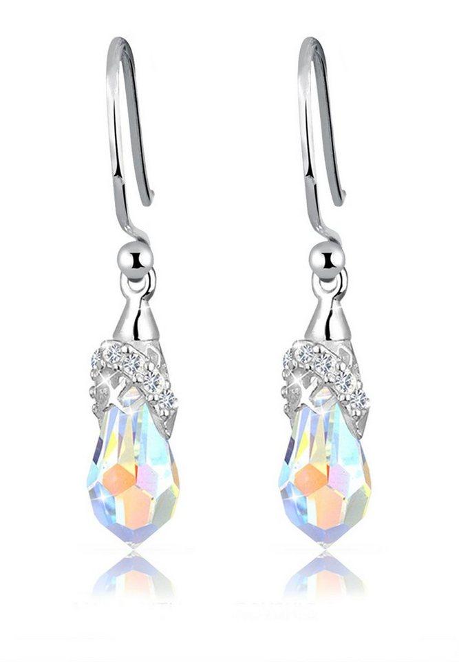 Elli Ohrringe »Hänger Swarovski® Kristalle 925 Sterling Silber« in Weiß