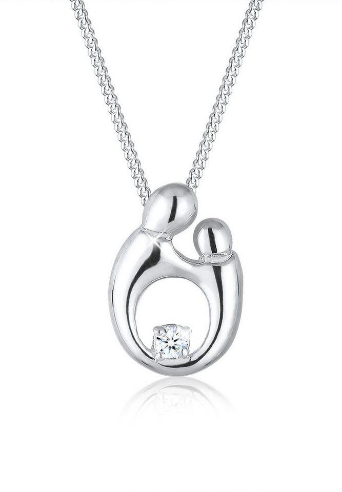 Diamore Halskette »925 Sterling Silber Diamant Mutter und Kind« in Weiß