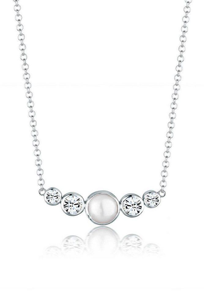 Elli Halskette »Süßwasserperle Swarovski® Kristalle 925 Silber« in Weiß