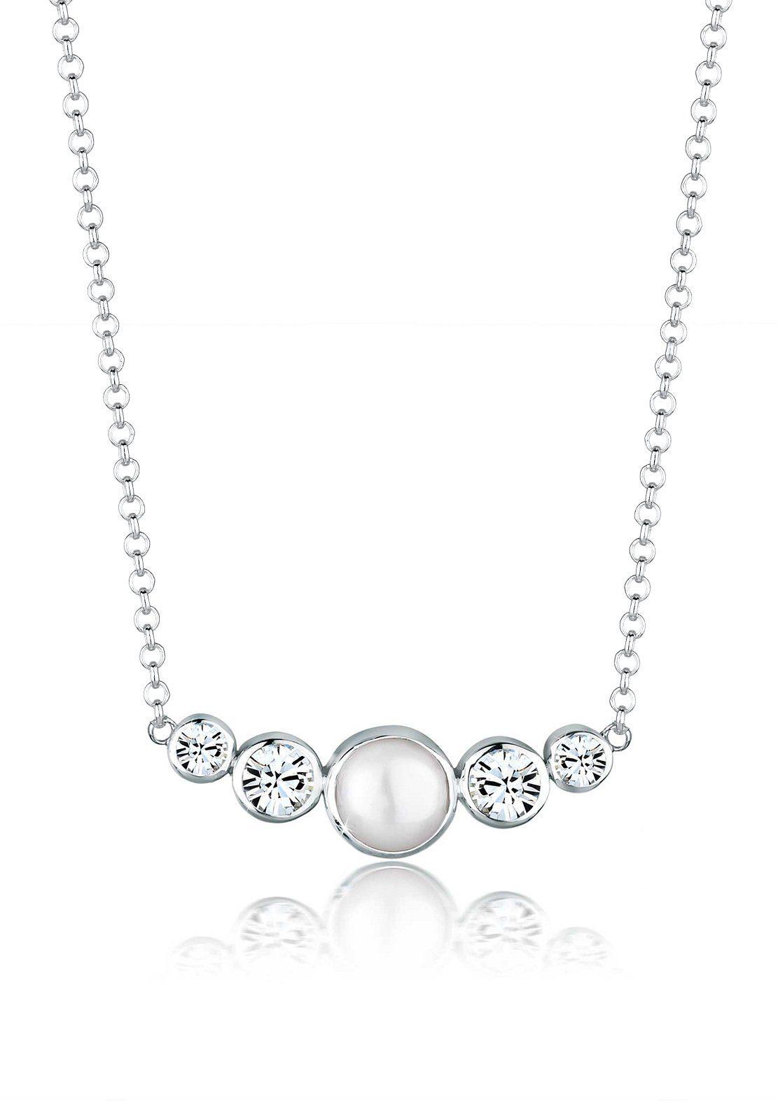 Elli Halskette »Süßwasserperle Swarovski® Kristalle 925 Silber«