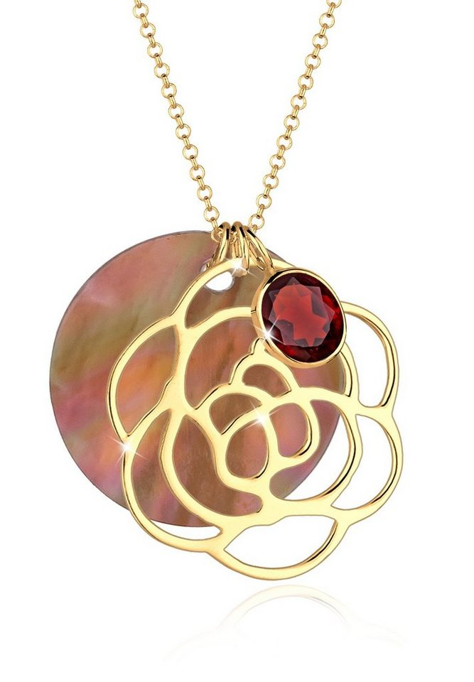 Elli Halskette »925 Sterling Silber Blume Perlmuttscheibe Granat« in Braun