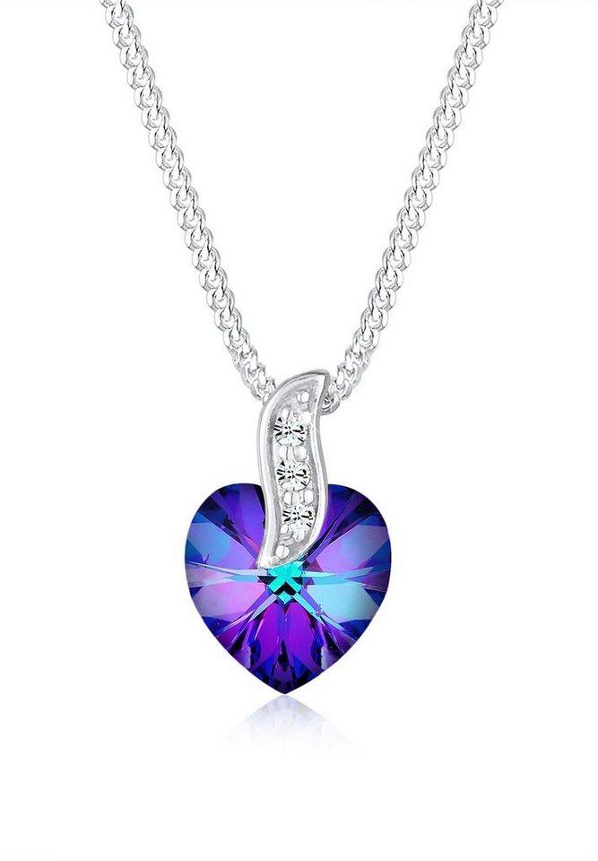 Elli Halskette »Herz Amor Swarovski® Kristalle 925 Sterling Silber« in Violett