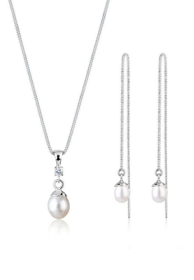 Perlu Set: Schmuckset »Perle Zirkonia 925 Sterling Silber« 2 tlg. in Weiß