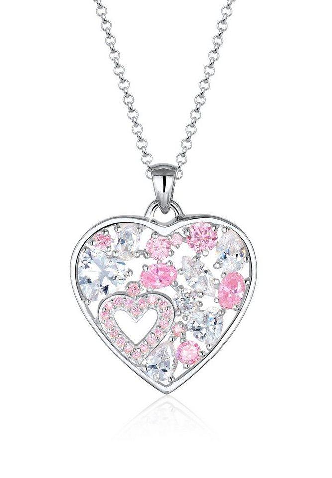 Elli Halskette »Herz Funkelnd Zirkonia 925 Sterling Silber« in Rosa