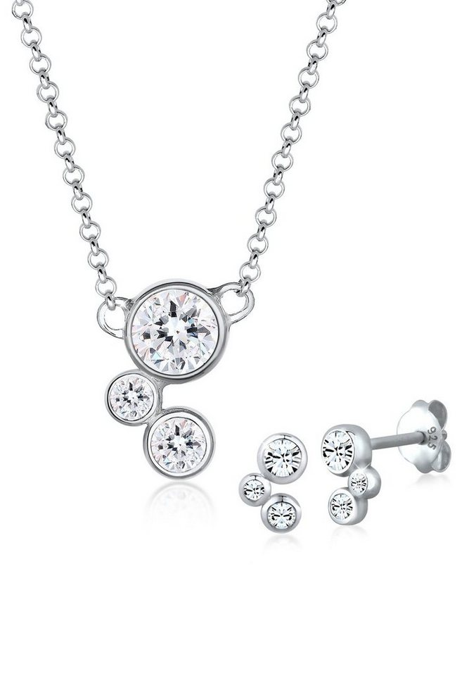 Elli Set: Schmuckset »Klassisch Swarovski Kristalle 925 Sterling Silber« 2 tlg. in Silber