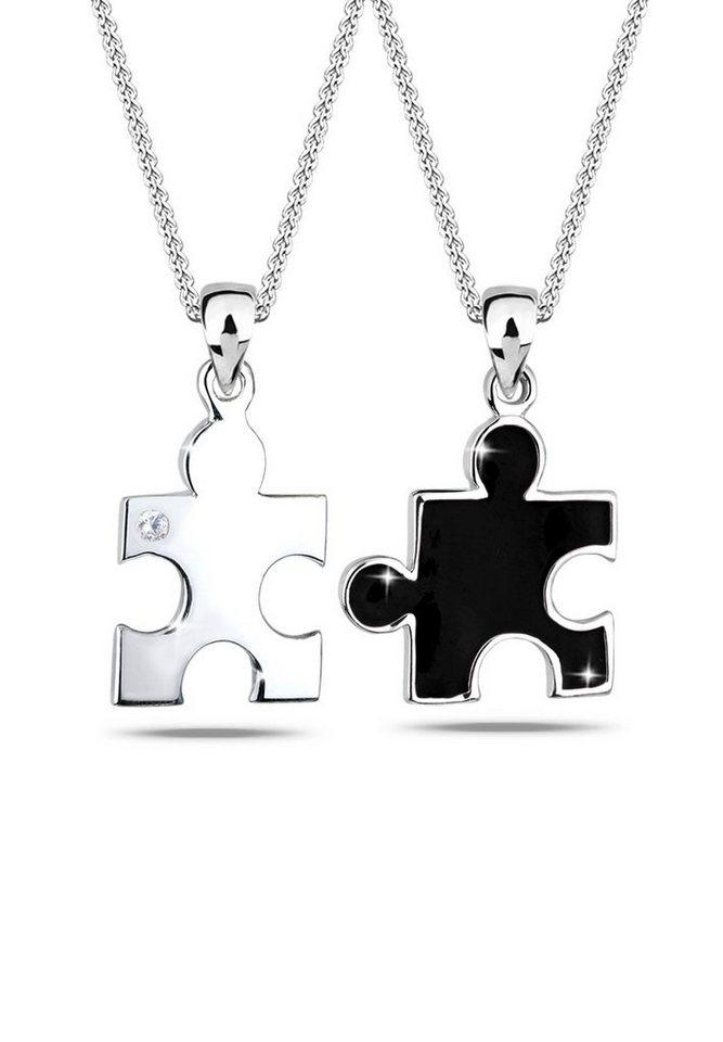 Elli Set: Halskette »Partnerketten Puzzle Zirkonia 925 Sterling Silber« 2 tlg. in Schwarz