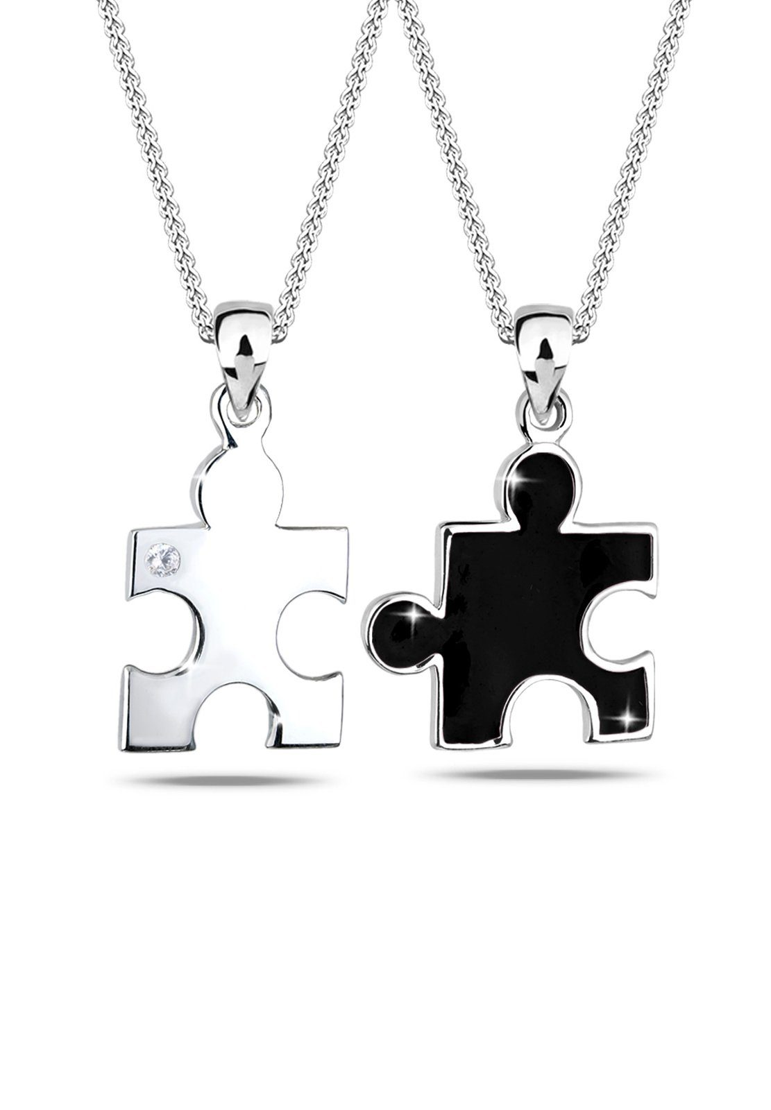 Elli Set: Halskette »Partnerketten Puzzle Zirkonia 925 Sterling Silber« 2 tlg.