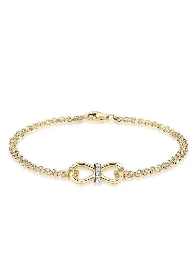 Goldhimmel Armband »925 Silber vergoldet Infinity Swarovski Kristalle« in Weiß