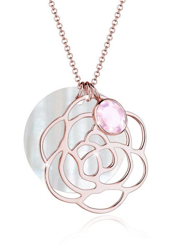 Elli Halskette »Blume Perlmuttscheibe Rosenquarz 925 Silber« in Rosa