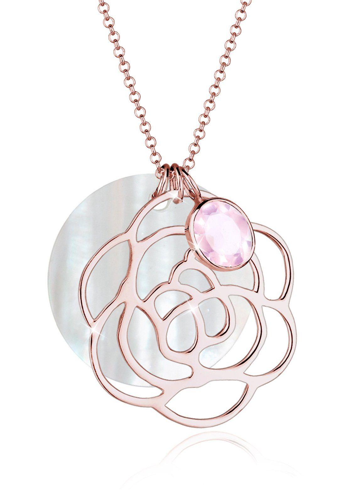 Elli Halskette »Blume Perlmuttscheibe Rosenquarz 925 Silber«