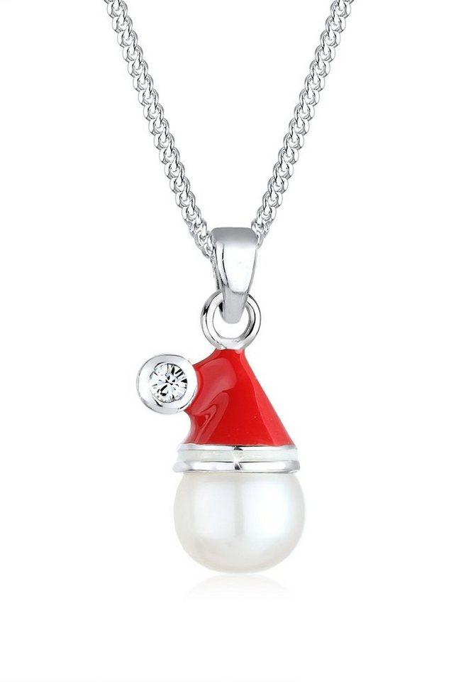 Elli Halskette »Weihnachtsmannmütze Swarovski Kristalle 925 Silber« in Rot