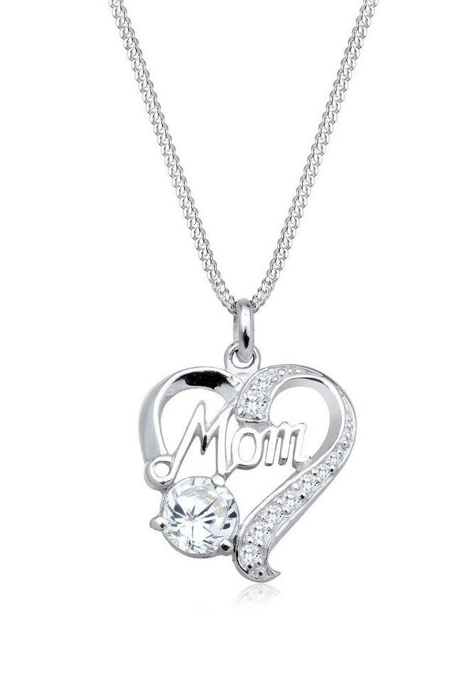 Elli Halskette »Herz Mom Muttertag Zirkonia 925 Sterling Silber« in Weiß