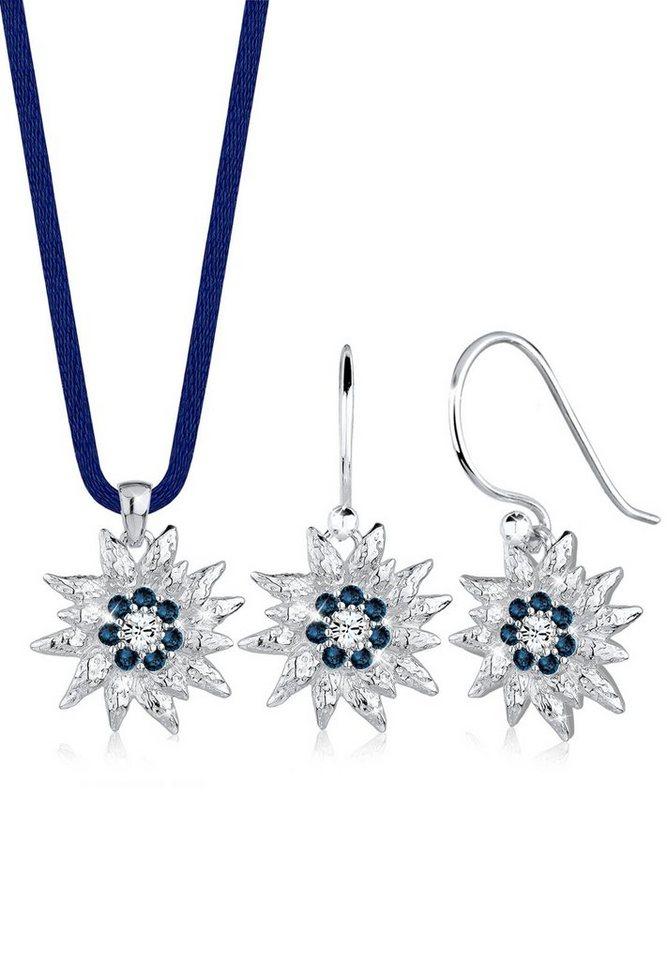 Elli Set: Schmuckset »Edelweiss Swarovski® Kristalle Silber« 2 tlg. in Blau